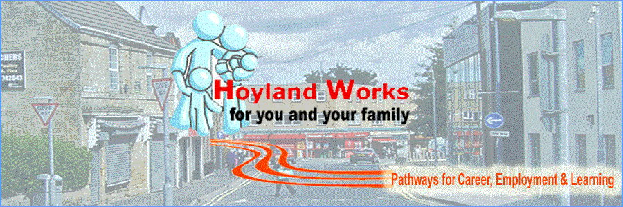Page banner showing Hoyland Town Centre and logo.